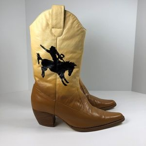 Handpainted Cowboy Boots Rodeo Bronco Ombre Yellow